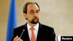 Komisioner Tinggi PBB untuk HAMZeid Ra'ad Al Hussein dalam pertemuan Dewan HAM PBB di Jenewa, Februari 2016. (Reuters/Denis Balibouse)
