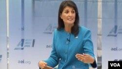 خانم هیلی در این سخنرانی گفت تحقیقات گسترده ای درباره تعهد پایبندی ایران به توافق هسته ای انجام داده است.