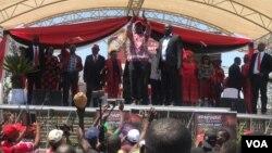 Nelson Chamisa at Gwanzura Stadium on Saturday.