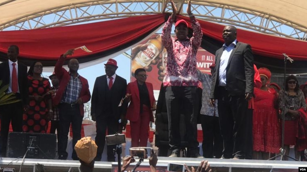 Nelson Chamisa greeting people at Gwanzura Stadium on Saturday.