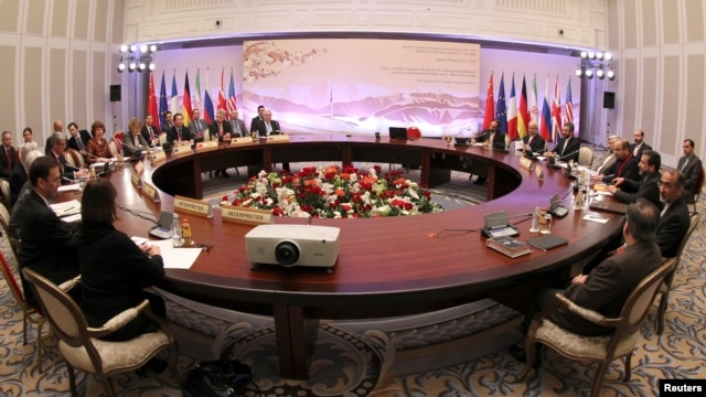 Participants hold talks on Iran's nuclear program in Almaty, Feb. 26, 2013.