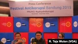 Konferensi Pers Festival Anti-Korupsi 2015. Kota Bandung terpilih sebagai tuan rumah penyelenggaraan festival ini.