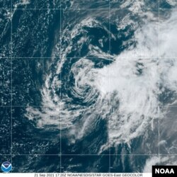 Rose is barely a tropical storm, Sept. 21, 2021.