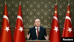 Presiden Turki Recep Tayyip Erdogan di Isnatan Kepresidenan di Ankara, Turki, 26 Oktober 2016 (Foto: dok).