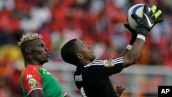 Aristide Bancé ( gauche) lors de la CAN Guinée équatoriale, 21 janvier, 2015 (AP Photo/Themba Hadebe)