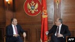 Ministri vanjskih poslova Kosova i Crne Gore, Enver Hodžaj i Milan Roćen, tokom susreta u Podgorici
