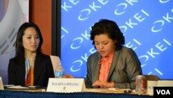 미국 워싱턴소재한미경제연구소(KEI)가16일주최한 중국정부의'일대일로'정책과한국의'유라시아이니셔티브'에관한토론회에서 발비나황미조지타운대학교수(오른쪽)가 주제발표를 했다.