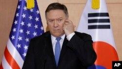 美国务卿蓬佩奥14号在首尔的记者会上接受提问