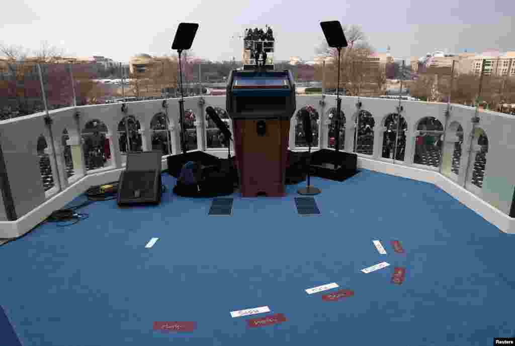 Placemarks are set for the Obama and Biden families before the presidential inauguration on the West Front of the U.S. Capitol January 21, 2013 in Washington. Barack Obama was re-elected for a second term as President of the United States