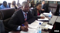 Dzimbabwe Chimbga and Rose Hanzi giving oral evidence one the state of human rights in parliament Wednesday. (Photo: Irwin Chifera)