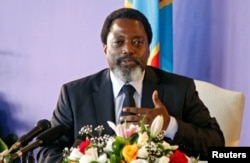 FILE - Democratic Republic of Congo's President Joseph Kabila holds a news conference at the State House in Kinshasa, Democratic Republic of Congo, Jan. 26, 2018.