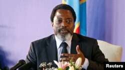 Perezida wa Republika iharanira demokarasi ya Kongo Joseph Kabila mu kiganiro n'abamenyeshamakuru i Kinshasa, itariki 26/01/2018.