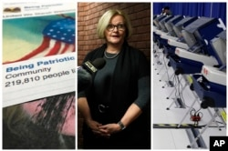 """This combination of 2017-2018 photos shows from left, a Facebook posting from a group named """"Being Patriotic"""" attributed to Russian agents by the U.S. House Intelligence Committee, Democratic Sen. Claire McCaskill of Missouri whose campaign was targeted by Russian hackers and voting machines in Chicago after hackers found a way into the voter registration database at the Illinois State Board of Elections in mid-2016."""