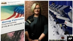 "FILE - A combo of 2017-2018 photos shows (L-R) a Facebook posting from a group named ""Being Patriotic"" attributed to Russian agents by the U.S. House Intelligence Committee; Democratic Sen. Claire McCaskill of Missouri, whose campaign was targeted by Russian hackers, and voting machines in Chicago after hackers breached the voter registration database at the Illinois State Board of Elections in mid-2016."