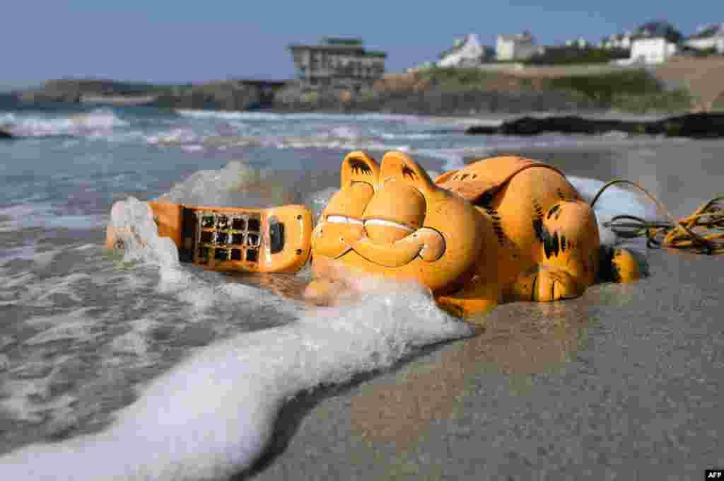 ទូរស័ព្ទជ័រ Garfield ត្រូវបានគេឃើញនៅលើឆ្នេរមួយនៅក្នុងសង្កាត់ Le Conquet ប្រទេសបារាំង កាលពីថ្ងៃទី៣០ ខែមីនា ឆ្នាំ២០១៩។