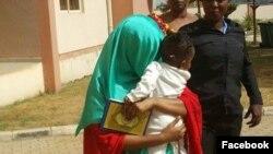 Maryam Sanda a wani lokaci da ta ke fita daga kotu dauke da 'yarta