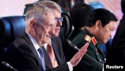 U.S. Defence Secretary James Mattis (L) attends the Defense Ministers meeting of the Association of Southeast Asian Nations (ASEAN) at Clark Field in Pampanga province, north of Manila, Philippines October 24, 2017.