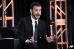 "Jimmy Kimmel participates in the ""Jimmy Kimmel Live and 90th Oscars"" panel during the Disney/ABC Television Critics Association Winter Press Tour, Jan. 8, 2018, in Pasadena, Calif."
