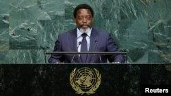 刚果民主共和国总统卡比拉在纽约联合国大会讲话。(2017年9月23日)