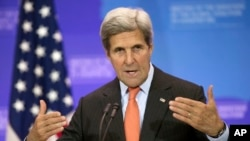 Secretary of State John Kerry speaks at the Meeting of the Ministers of the Global Coalition to Counter ISIL .
