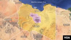 Lokasi pantai Sirte, Nofaliya, dan distrik al-Jufra, Libya.