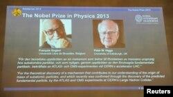 Представление Франсуа Энглера и Питера Хиггса – лауреатов Нобелевской премии по физике 2013 года – на пресс-конференции в Шведской королевской академии наук в Стокгольме. 8 октября 2013 г.