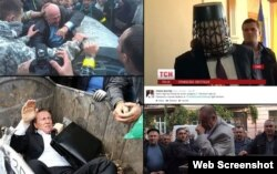 A collection of images posted to social media of Ukrainian politicians being thrown into trash bins or having trash dumped on them.