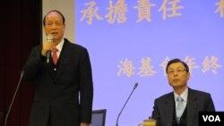 台灣海基會年終記者會董事長 林中森發表講話(美國之音張永泰拍攝)