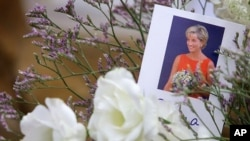 A picture of Diana, Princess of Wales on flowers at her family home at Althorp, near Northampton