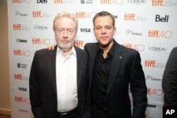 Director Ridley Scott and actor Matt Damon are seen at the Twentieth Century Fox 'The Martian' Premiere Gala at the 2015 Toronto International Film Festival, Sept. 11, 2015 in Toronto, Canada.
