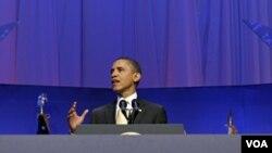 Presiden AS Barack Obama memberikan sambutan pada peletakan batu pertama pembangunan Museum Nasional Afrika-Amerika (22/2).