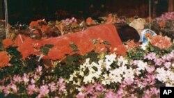 북한 평양 금수산기념궁전에 안치된 김일성 주석의 시신. 1994년 김 주석의 장례식 당시 북한 관영 매체가 공개한 사진이다. (자료사진)