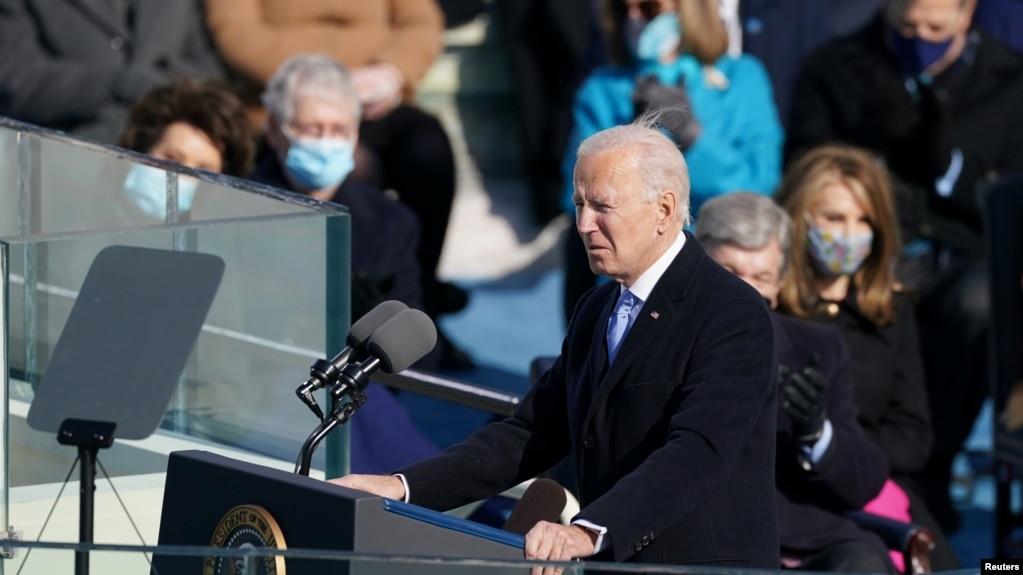 美国总统拜登在就职典礼上发表讲话。(2021年1月20日)