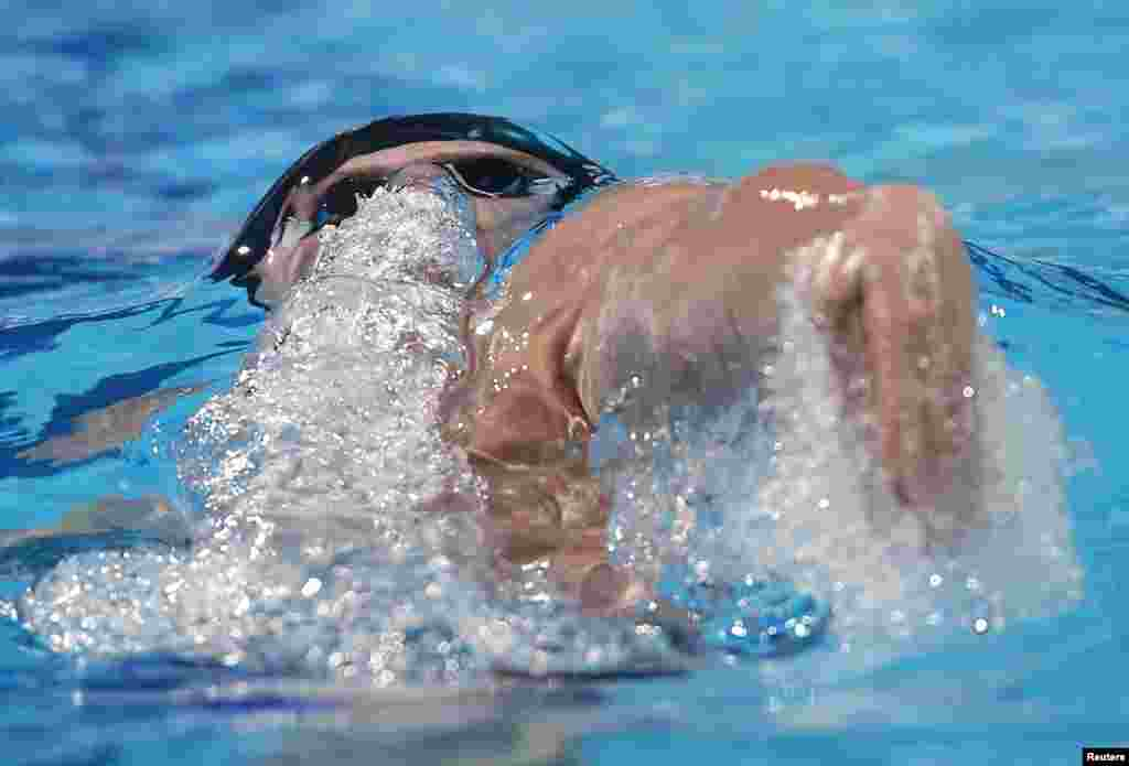 Tyler Clary of the U.S. swims in the men's 200m backstroke final during the World Swimming Championships at the Sant Jordi arena in Barcelona, Spain.