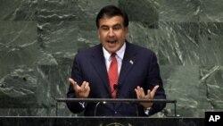 Михаил Саакашвили выступает с речью на Генеральной ассамблее ООН. Нью-Йорк, 25 сентября 2012 года