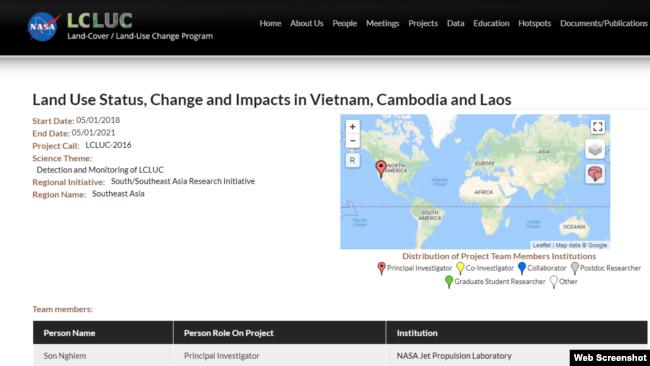 Trang LCLUC đưa thông tin về dự án nghiên cứu tại Việt Nam.