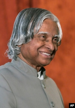 FILE - In this Jan. 19, 2008 photo, Former Indian President A.P.J. Abdul Kalam smiles during a function in Bangalore.