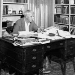 At his home office in Cambridge, Massachusetts, in 1945