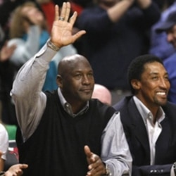 Michael Jordan at a Chicago Bulls game last month with former teammate Scottie Pippen