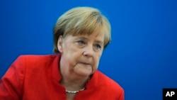 La chancelière Angela Merkel au siège de son parti à Berlin, le 18 juin 2018.
