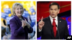 Kandidat presiden dari Partai Demokrat Hillary Clinton dan kandidat presiden dari Partai Republik Marco Rubio.
