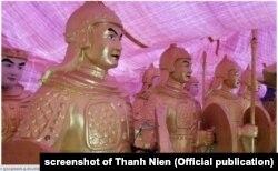 Tượng binh lính thời xưa do công ty Liên Minh mua của khu du lịch Đại Nam, tháng 8/2020