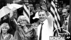 Volter Mondejl i Džeraldin Feraro u predsedničkoj kampanji u septembru 1984.