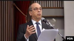 美國國務院前亞太助卿丹尼爾.拉塞爾在台灣政治大學發表演講(10月24日張佩芝攝)