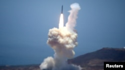 The Ground-based Midcourse Defense (GMD) element of the U.S. ballistic missile defense system launches during a flight test from Vandenberg Air Force Base, Calif., May 30, 2017.