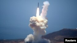FILE - The Ground-based Midcourse Defense (GMD) element of the U.S. ballistic missile defense system launches during a flight test from Vandenberg Air Force Base, Calif., May 30, 2017.