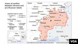 Ukraine: areas of conflict, as of Feb. 10, 2015