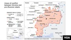 Ukraine: areas of conflict, as of Feb. 10, 2015