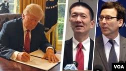 Dari kiri: Presiden AS Donald Trump, Jaksa Douglas Chin (Hawaii) dan Jaksa Bob Ferguson (Washington DC).