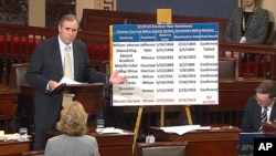 In this frame grab from video provided by Senate Television, Sen. Jeff Merkley, D-Ore. speaks on the floor of the Senate on Capitol Hill in Washington, Wednesday, April 5, 2017. Merkley spoke for nearly 15 hours in opposition to Gorsuch nomination.